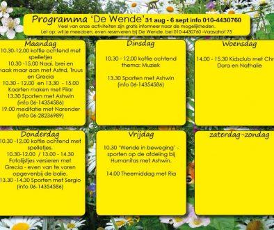 weekprogramma 31 aug